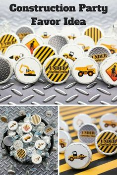 Construction Party Favor DIY Idea - Stickers on Small Candies.  Steel, dump trucks and so much more Under Construction.