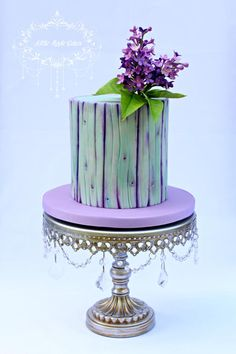 Purple dream Lilac and Woodgrain Cake by Little Apple Cakes