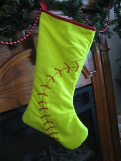 Softball Christmas stocking.@Marisa McClellan Pennington Foster #bemorefestive #choosetobemorefestive