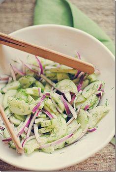 Sweet Cucumber, Red Onion & Dill Salad...  4srv...1point...