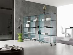 Libreria Bookcases by Tonelli Design. Allowing you to choose how tall and wide you want your bookcase to be, Libreria is fitted with stacking elements Glass Bookshelves, Glass Shelving Unit, Glass Wall Shelves, Floating Glass Shelves, Display Shelves, Bookcases, Display Case, Wine Glass Shelf, Stacking Shelves