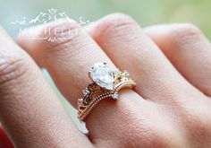2pc Vintage Moissanite Engagement Ring Set Solid Gold Pear