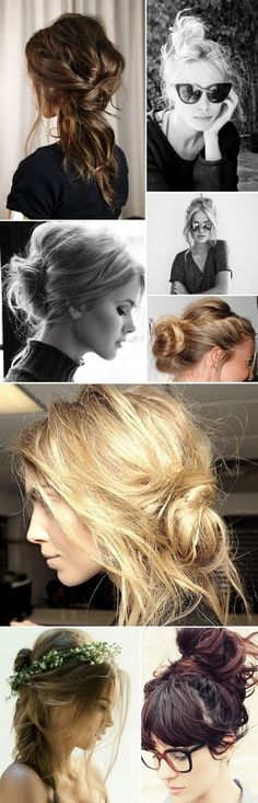 Messy buns of hair.