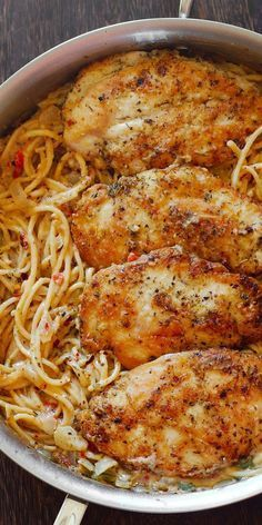 Chicken Breasts with Pasta in Creamy White Wine Parmesan Cheese Sauce