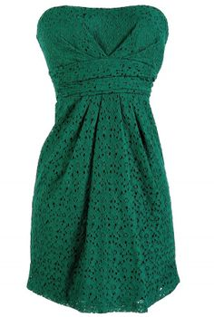 Forest Green Lace Strapless Dress
