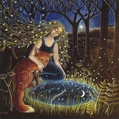 The Moon Pool : Pagan/Spiritual : Cards by Theme : Home : Pagan/spiritual and fairy/fantasy greeting cards, prints and gifts at Moondragon Moon Pool, Tender Is The Night, Pagan Art, Fox Art, Fantasy Creatures, Lovely Creatures, Whimsical Art, Art Inspo, Fantasy Art