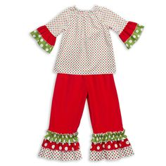 Lolly Wolly Doodle Christmas Dot Red Corduroy Ruffle Pant Set $39 - Made to order!  Made in the U.S.A!