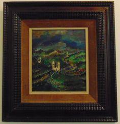 """GUIGNARD, óleo sobre madeira. Representando """" igreja de ouro preto"""", medindo 33 x 29 cm."""