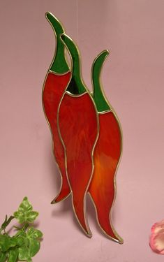 Stained Glass Red Hot Chili Peppers by StainedGlassbyWalter, $24.95