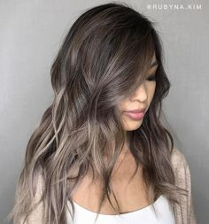 Image result for ash blonde/grey  balayage asian