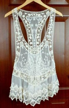 Gorgeous Vintage Style Bohemian Cream Ivory Lace Embroidered T Back Singlet TOP | eBay