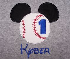 Personalized Custom Mouse Ears Baseball Softball Number Birthday Gray Shirt SHIPS FREE