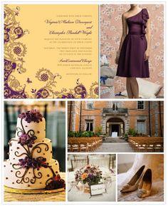 Purple and Gold Bridesmaid Dress, Wedding Paper Diva Wedding Blog, Fall 2011 Inspiration Board