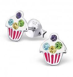 etc Nickel Free Childrens Stud Earrings with Dangling Pom Pom Girls cupcake ICYROSE 925 Sterling Silver Cute Animal