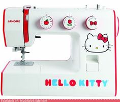 "I have a hello kitty sewing machine too! Mine is mint green and says: ""sewing pretty with hello kitty."""