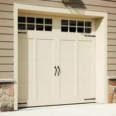 Give your garage door character in a matter of seconds. Hardware's Magnetic Garage Door Hardware is backed with magnets for a simple installation. The set is made of injection-molded UV-stab Garage Door Colors, Garage Door Styles, Garage Door Design, Garage Door With Windows, Garage House, Dream Garage, Garage Room, House Front, Gym Room