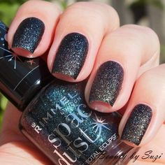 Rimmel Space Dust, 005 Total Eclipse #black #nailpolish - bellashoot.com #spacedust