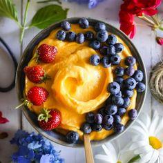 healthy-vegan-cooking:Mango Sorbet With Banana and Pineapple Raw Desserts, Healthy Desserts, Raw Food Recipes, Dessert Recipes, Fruit Dessert, Frozen Desserts, Vegetarian Recipes, Mango Sorbet, Pineapple Sorbet