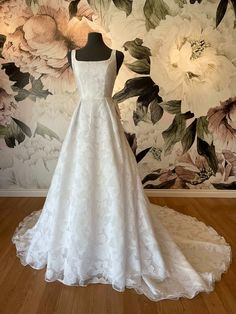 This beautiful a line lace wedding dress is super soft and modern. It features a flowing skirt, low back, square neckline and laser cut printed lace! It also has pockets! Whats not to love? From our private collection exclusive to Charlotte's Weddings! Wedding Vendors, Weddings, Lace Wedding, Wedding Day, Wedding Inspiration, Style Inspiration, Modest Wedding Dresses, Square Necklines, Hair Makeup