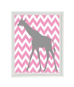 Giraffe Nursery Art Print  Chevron Pink Gray by RizzleandRugee, $15.00