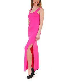 Fuchsia Side-Slit Sleeveless Maxi Dress #zulily #zulilyfinds