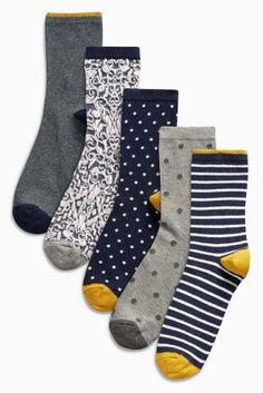 Acheter Lot de cinq paires de socquettes bleu marine à motif en ligne sur Next : France