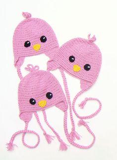 Sombreros de pájaro recién nacidos sombrero rosado del bebé
