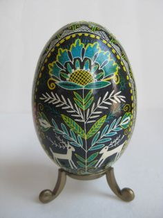 Goose egg Pysanka with Blue and Green, hand painted one of a kind, Ukrainian Easter egg by Katya on etsy