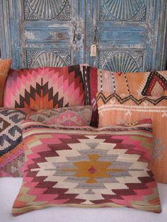 kilim cushions at Bohemian Life - Decorating - Bohemian Interior, Bohemian Decor, Ibiza Style Interior, Deco Boheme Chic, Style Deco, Boho Style, Pillow Tutorial, Kilim Cushions, Boho Pillows