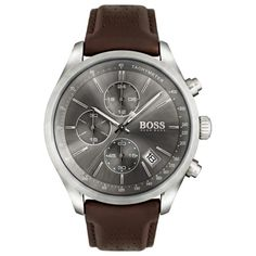 Capture the spirit and excitement of classic auto racing style with the Grand Prix watch by Boss Hugo Boss, styled with a gray chronograph dial and deep brown perforated leather strap. Brown Leather Strap Watch, Dark Brown Leather, Brown And Grey, Gray, Deep Brown, Hugo Boss Watches, Watches For Men, Grand Prix, Montres Hugo Boss