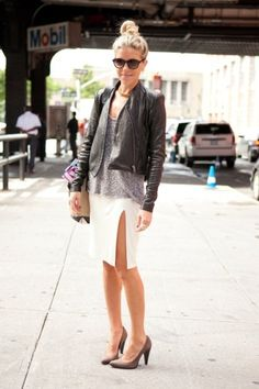 leather + pencil skirt