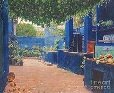Courtyard Painting - Spanish The Blue Courtyard by MotionAge Designs