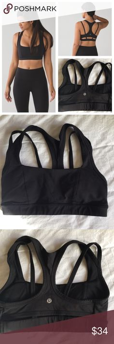 Lululemon Splendour Black sports bra size 6 Lululemon Splendour Black bra.  Nice style and great quality.  Great for yoga or any workout.  Removable cups.  See more details in the last photo.  Size 6.   EUC. lululemon athletica Intimates & Sleepwear Bras