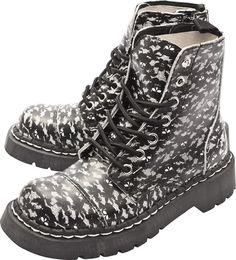 T.U.K. SKULL LACE BOOTS BLACK/WHITE - Shoes - Gals. US5