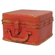 "Bring a touch of industrial-chic charm to your living room or den with this eye-catching storage box, crafted from metal and showcasing a red finish.  Product: Storage boxConstruction Material: MetalColor: RedFeatures:  Lock lidOne handleDimensions: 7.5"" H x 5"" W x 7.5"" DCleaning and Care: Lightly dust"