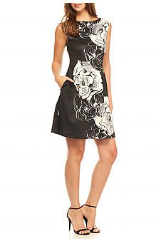 Vince Camuto Floral Printed Scuba Fit and Flare Dress