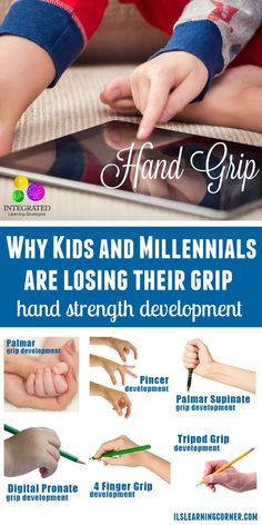 Why Kids and Millennials are Losing their Grip Hand Grip: Weak Hands? Why Kids and Millennials are Losing their Grip Motor Activities, Therapy Activities, Preschool Activities, Pediatric Occupational Therapy, Pediatric Ot, Learning Tips, Kids Learning, Pre Writing, Writing Skills