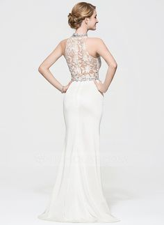Trumpet/Mermaid Scoop Neck Sweep Train Beading Sequins Zipper Up Regular Straps Sleeveless No Ivory Spring Summer Fall General Plus Lace Jersey Height:5.7ft Bust:32in Waist:23in Hips:34in US 2 / UK 6 / EU 32 Prom Dress