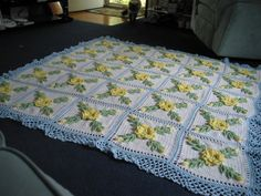 Yellow Wild Rose Afghan with Soft Light Blue border - Made Fresh After Sale - 25 squares on Etsy, $150.00