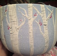 Soup mug before overglaze and firing. #thepaintedpeacock #mugideas @paintourpeacock