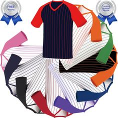 Raglan T-Shirt Stripe Baseball Jersey Short Sleeves V-Neck Tee Team Sports New