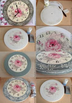 Nice clock to make Decoupage Vintage, Decoupage Paper, Vintage Crafts, Cd Crafts, Diy Arts And Crafts, Home Crafts, Clock Art, Diy Clock, Wall Clocks