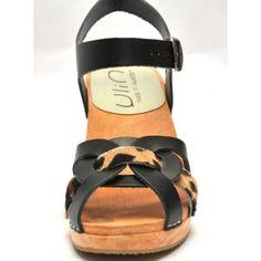 SOFIA - Sandales suédoises YLIN pour femme , talons hauts en bois et cuir  noir   léopard. Esprit Nordique · Sabots et sandales suédoises d4da761500b4
