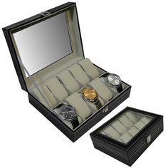 dfca399b43d Estojo - Caixa p  10 Relógios Luxo Couro Sintético Preto WMTLL80214 - Caixas  e Estojos