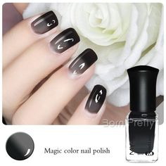 $4.59 1 Bottle 6ml Thermal Nail Polish Color Changing Polish Peel Off Polish Black to Grey - BornPrettyStore.com