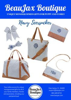 Navy Seersucker is a Preppy Classic! It's the material we all love! So Preppy and Pretty.  See our beautiful collection of your seersucker necessities at BeauJax Boutique! www.beaujax.com #preppy #monogram #seersucker