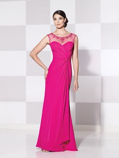 492c478f47 Cameron Blake 115610 Elegant Evening Gown with Draped Skirt and Sweep  Train. Festas RosaLindos Vestidos ...