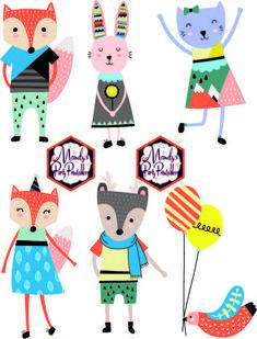 Hipster Woodland Animal Birthday Printables Cupcake Toppers via Mandy's Party Printables