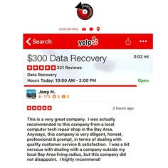 We received a new  review on yelp by Joey in San Jose CA. Visit our website (link in bio) to learn more. --- #300DollarDataRecovery #LosAngeles #Yelp #HardDrive #DataRecovery #StudioCity