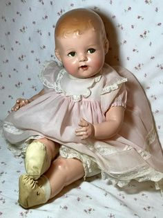 GORGEOUS and sweet and RARE RARE RARE Ideal Baby Beautiful BLOND. Chubby cheeks and styling similar to Baby Shirley Temple but no dimples... perhaps a